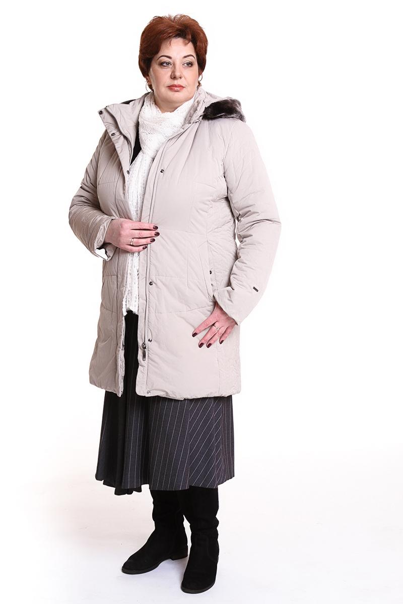 """Пальто """"Rils"""" (ФИНЛЯНДИЯ) отороченное мехомЦвет: светло-бежевый. - 10500 руб"""