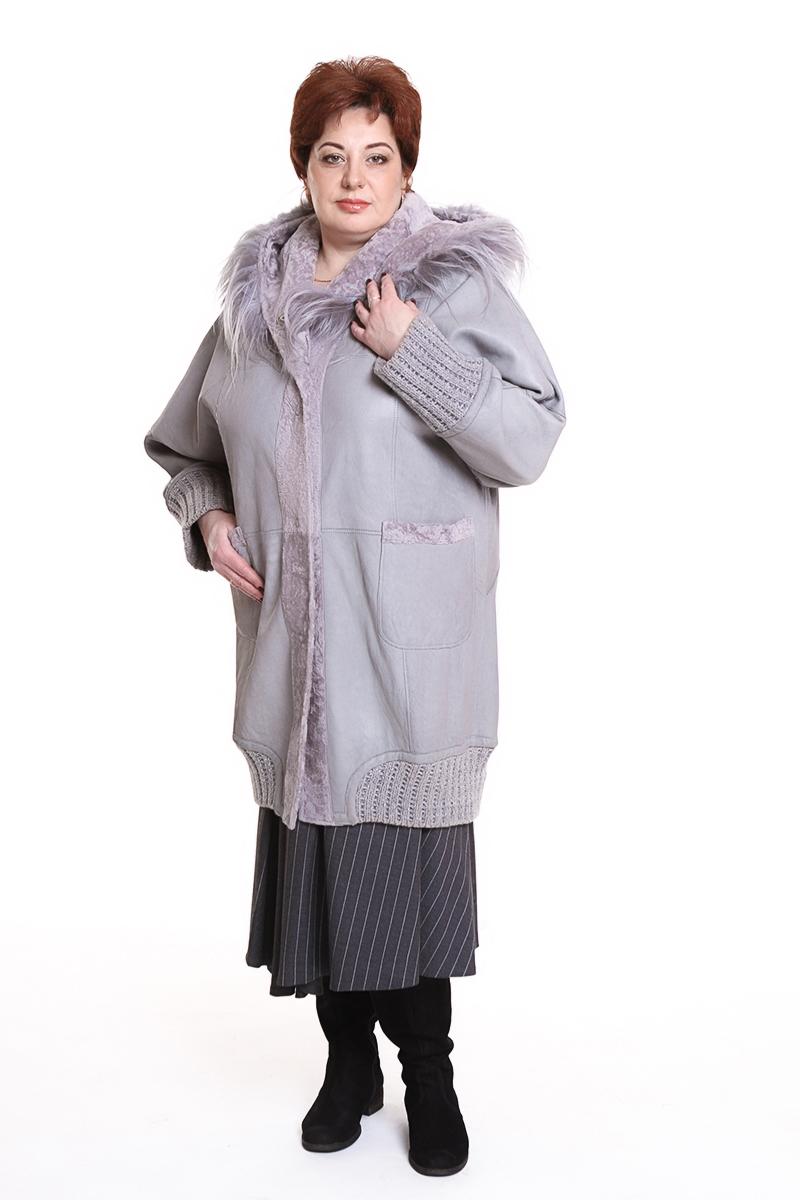 """Дубленка """"FONTANI"""" (ИТАЛИЯ) с меховым капюшономЦвет: серый. - 147950 руб"""