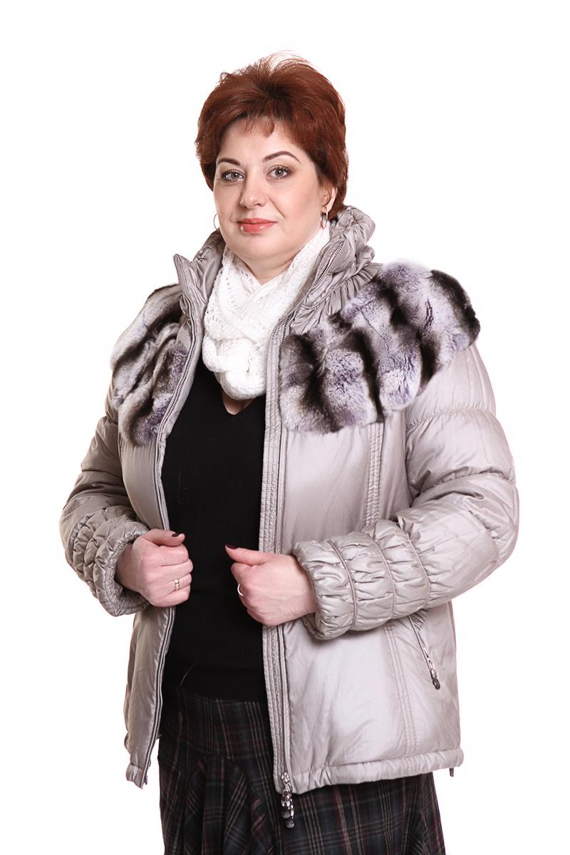 """Куртка """"DIEGO M"""" (ИТАЛИЯ) (мех: кролик)Цвет: бежевый. - 19500 руб"""