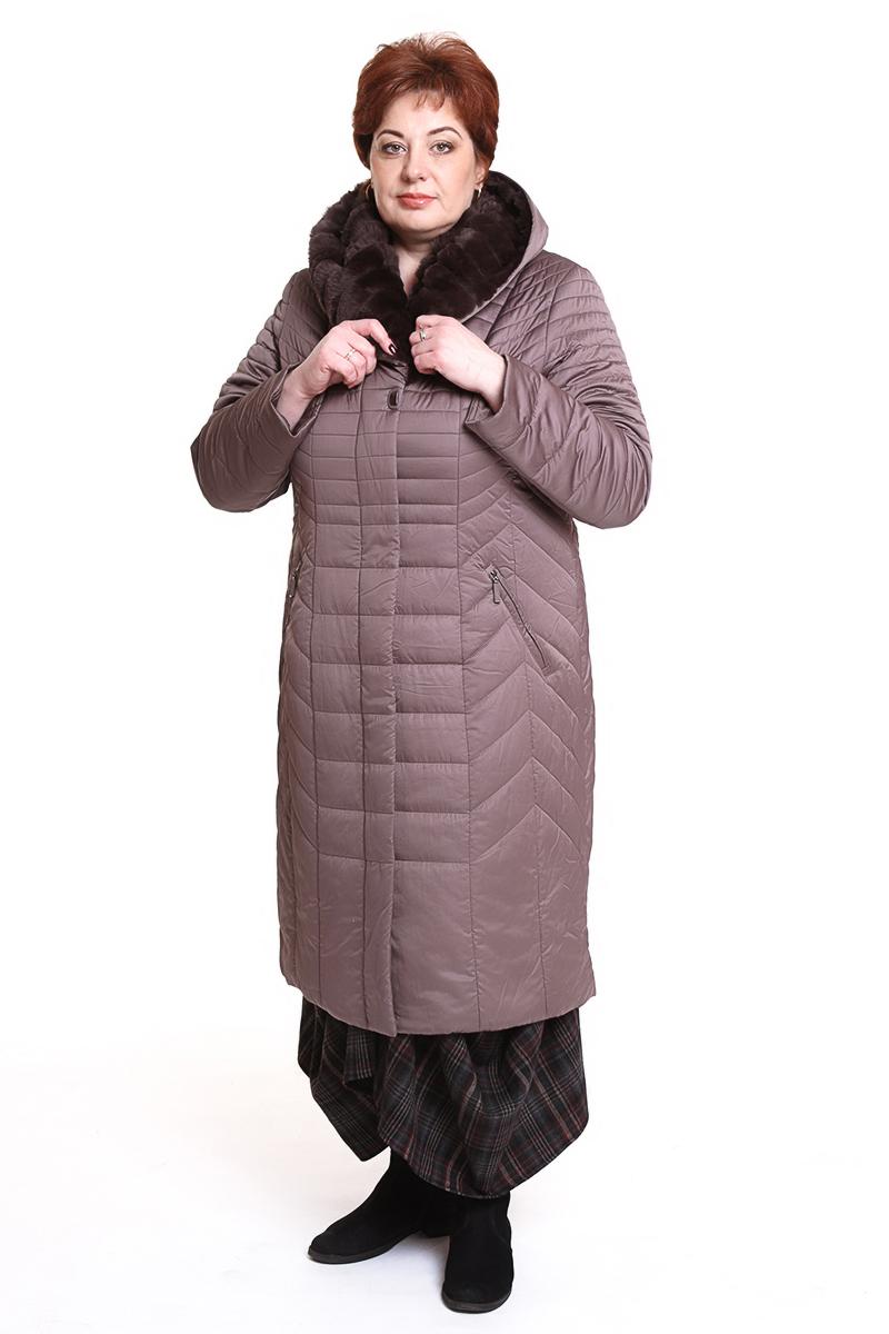 """Пальто """"Romantic"""" (РОССИЯ) отороченное мехомЦвет: коричневый. - 13900 руб"""
