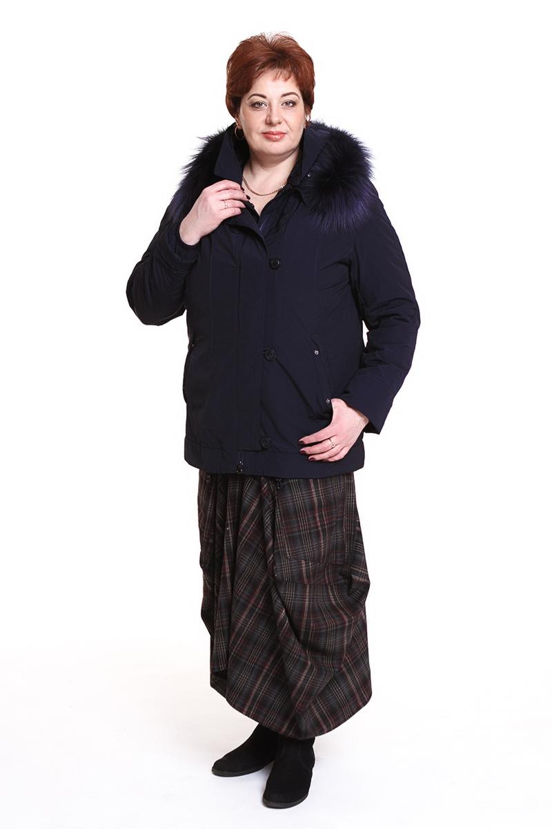 """Куртка """"Romantic"""" (РОССИЯ) отороченная мехомЦвет: синий. - 7990 руб"""
