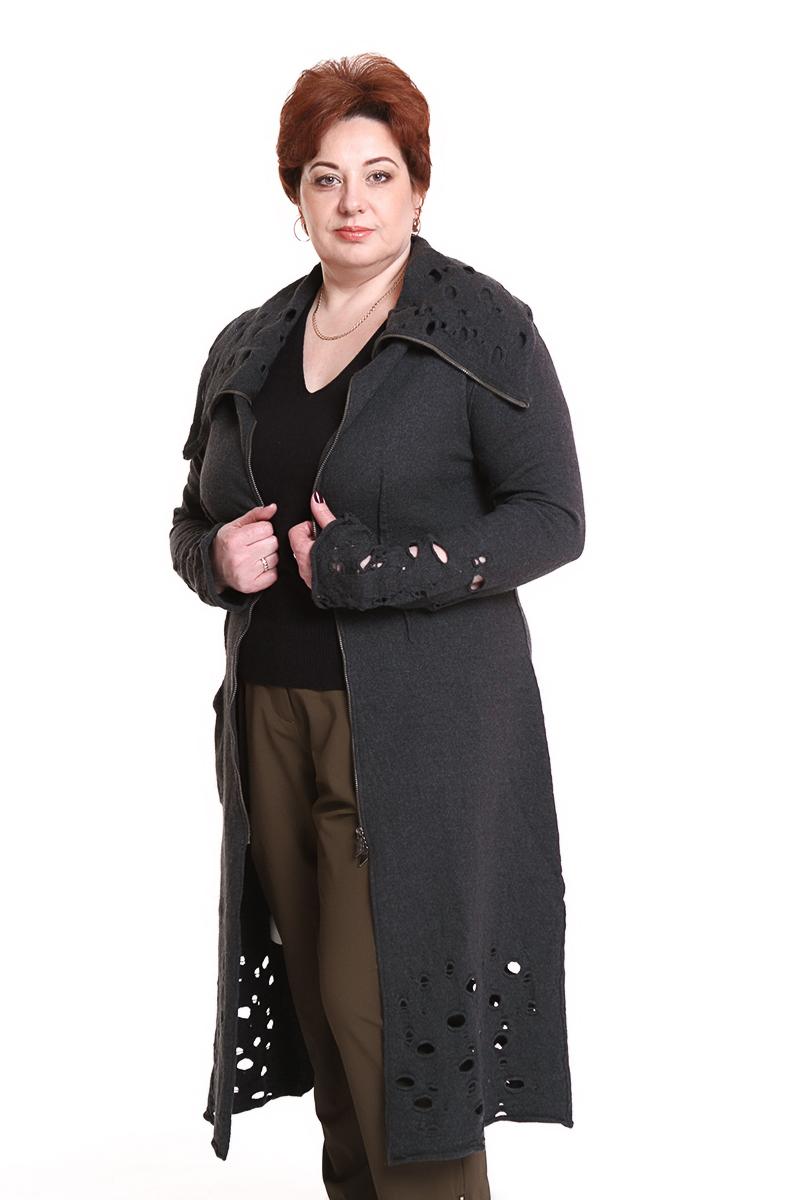 """Пальто """"Oblique"""" (ИТАЛИЯ) (шерсть) с перфорацией по подолу и на рукавахЦвет: хаки, синий. - 20500 руб"""