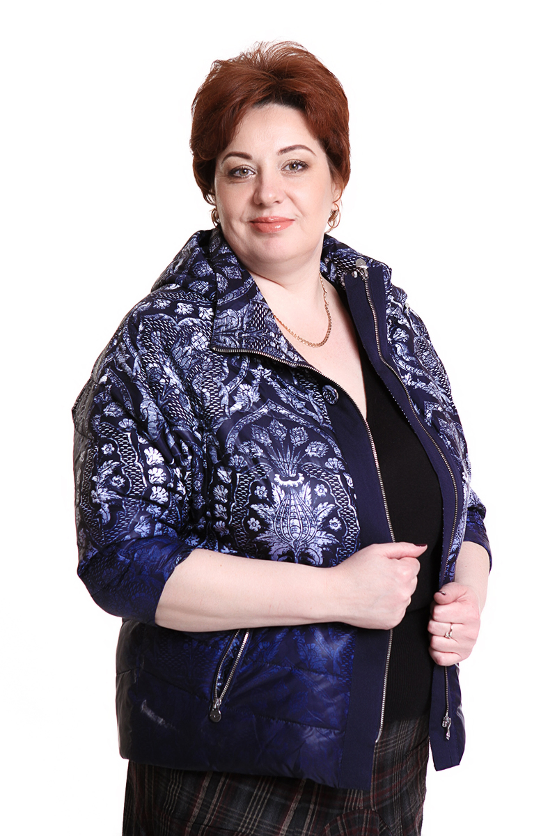 """Куртка """"Romantic"""" (РОССИЯ) рукав 3/4Цвет: синий с белым принтом. - 7500 руб"""