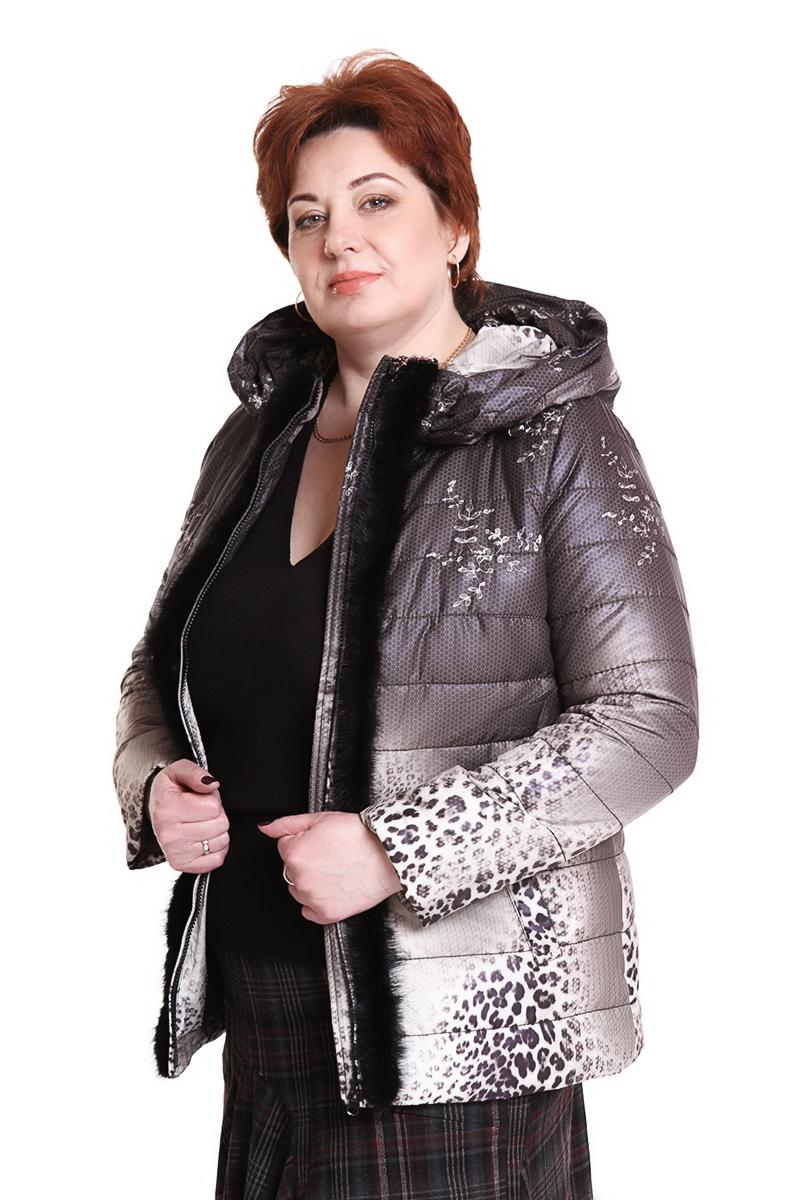 """Куртка """"Romantic"""" (РОССИЯ) оторочена норкой Цвет: принт леопард. - 7500 руб"""