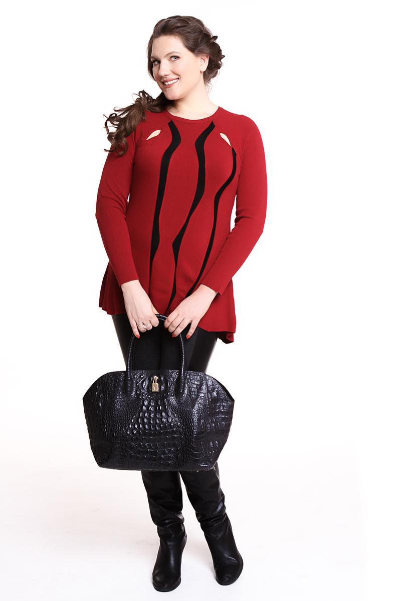 Блуза Oblique (ИТАЛИЯ) Цвет: красный с черными вставками. - 3990 руб