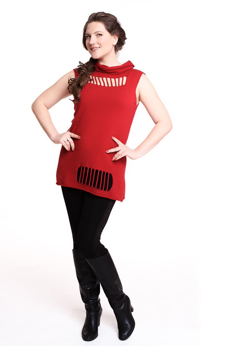 Жилет Oblique (ИТАЛИЯ) трикотажный, короткий букав Цвет: красный. - 5500 руб