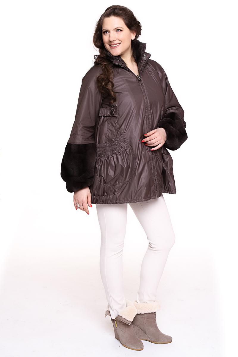 Куртка DIEGO M (ИТАЛИЯ) рукав оторочен мехом Цвет: коричневый. - 12990 руб