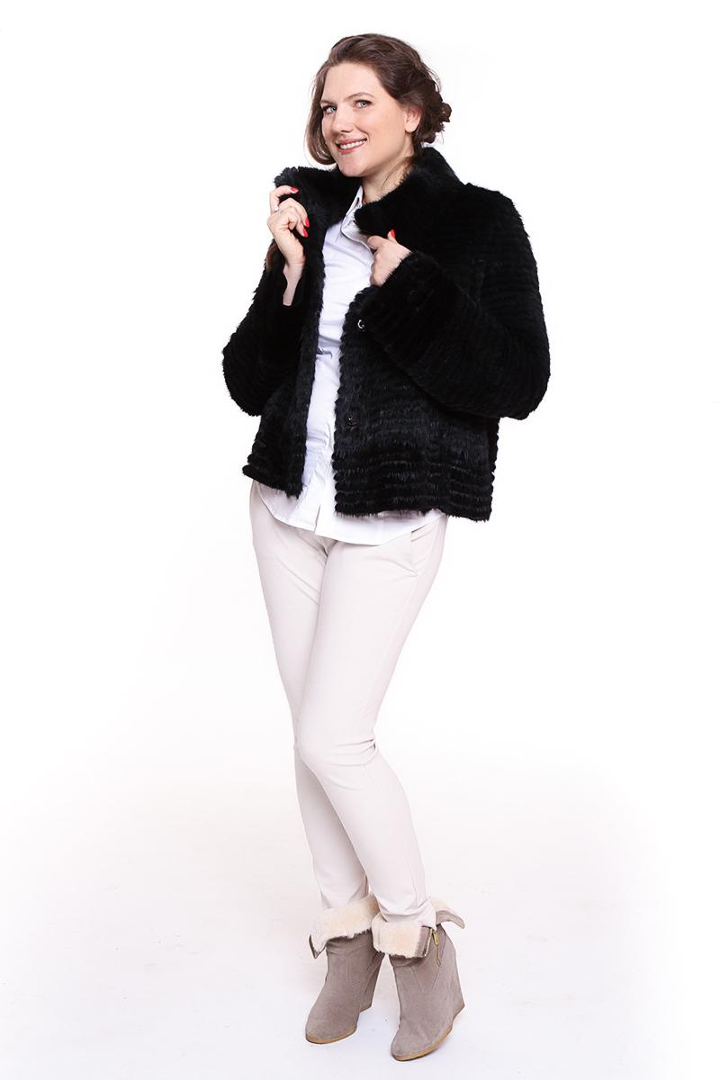 Жакет Rossenberg (ГЕРМАНИЯ) из вязанной нутрии Цвет: черно-зеленый. - 65000 руб