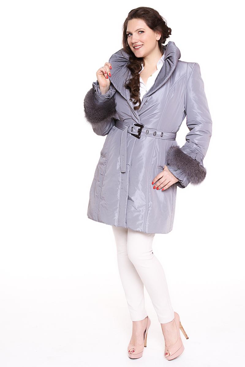 Полупальто DIEGO M (ИТАЛИЯ) рукав оторочен мехом Цвет: серый